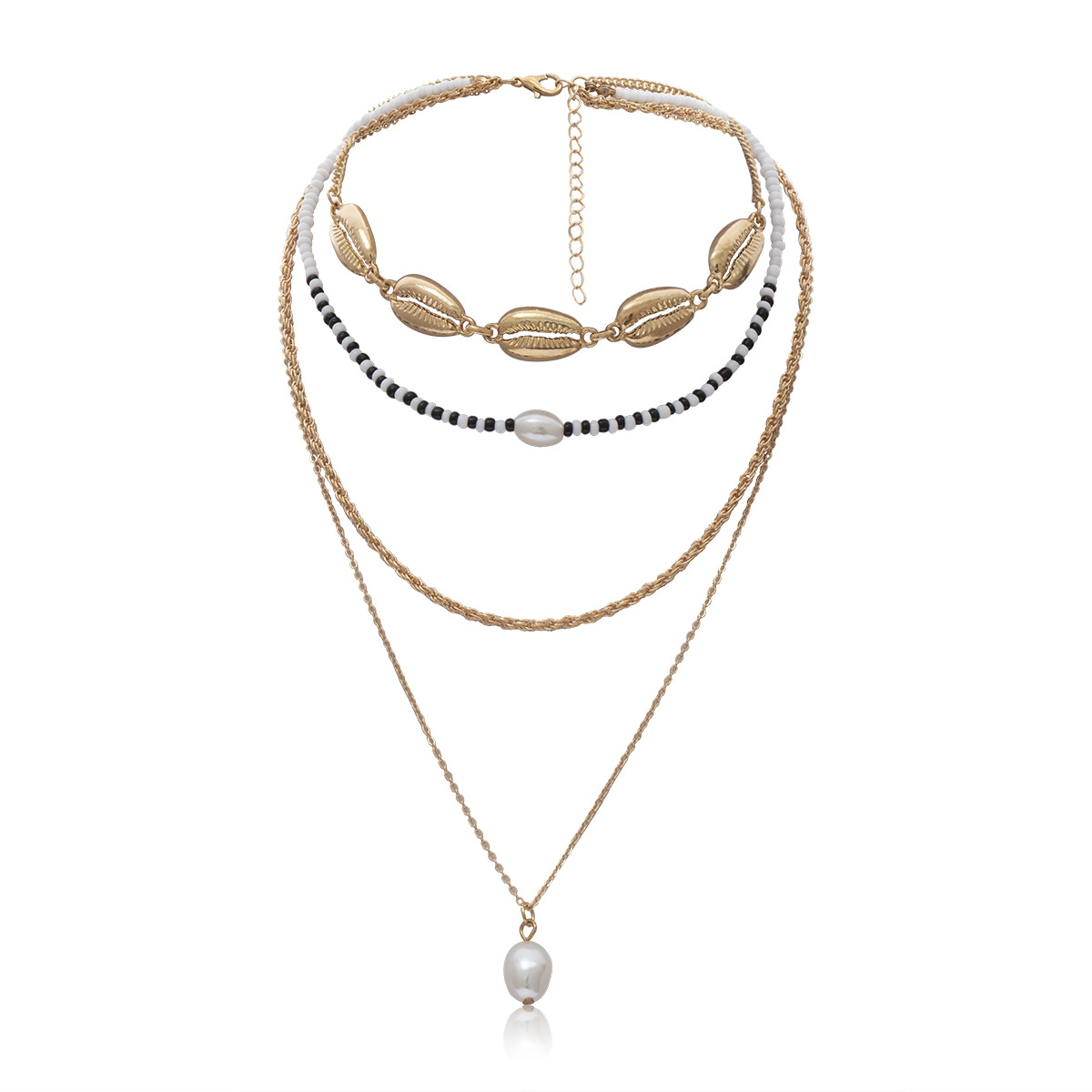 New Arrival Imitation Pearls Choker Necklaces for Women Gold Color 2019 Fashion Jewelry Natural Shell Pendant Necklace Female