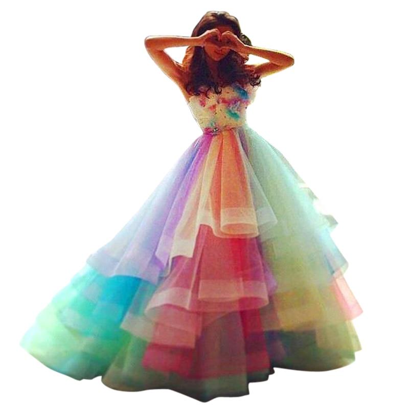 Rainbow Colorful Prom Dresses Layers Organza Handmade Flowers Graduation Dress Beads Pleats Princess Pageant Dress Custom Made