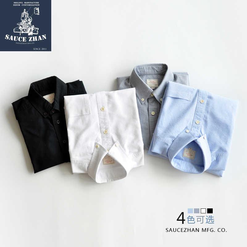 SauceZhan Originale Shirt Vintage con 6 Colori Misti Oxford, a maniche lunghe Camicia di Cotone, Camicia di Colore Solido, yu Wenle Degli Uomini Della Camicia