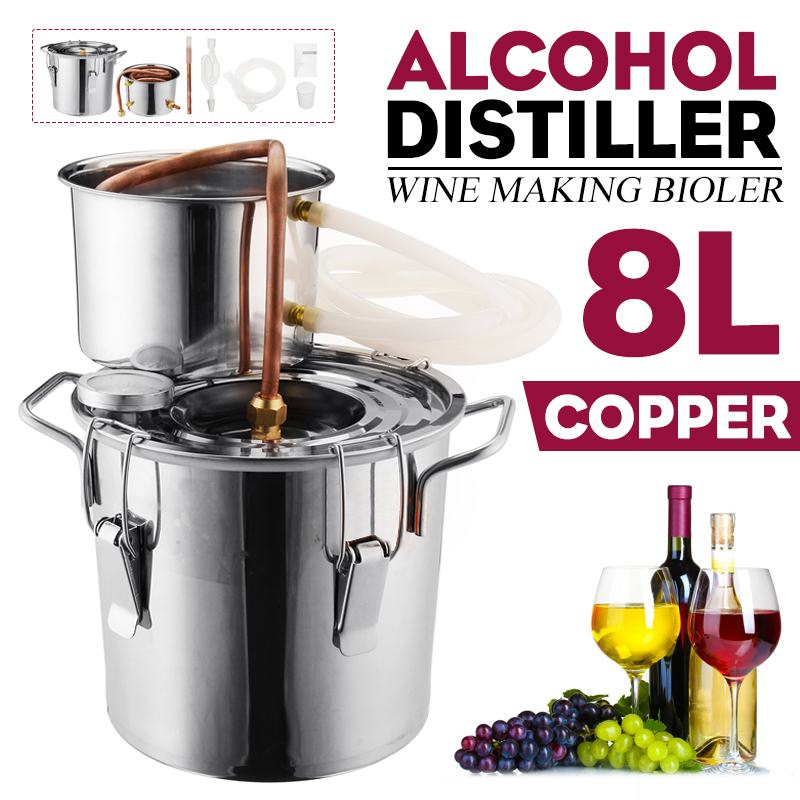 Professional 8L Distiller Moonshine แอลกอฮอล์สแตนเลสทองแดง DIY บ้านน้ำไวน์น้ำมันหอมระเหย Brewing ชุด