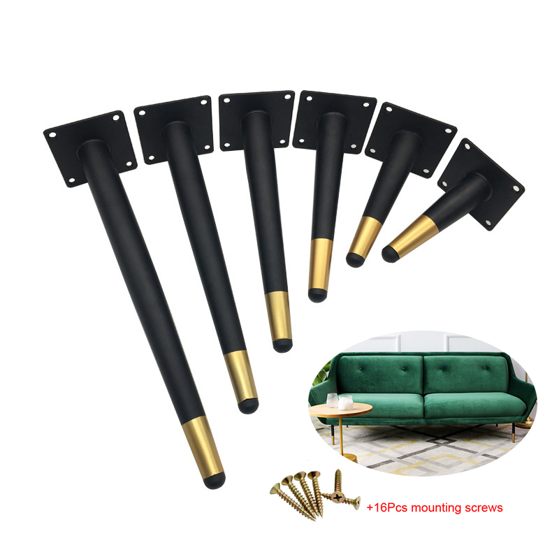 4Pcs Furniture Table Legs Black Gold Metal Tapered Feet For Sofa Cupboard Wardrobe TV Cabinet Chair 10-45CM With Mounting Screws