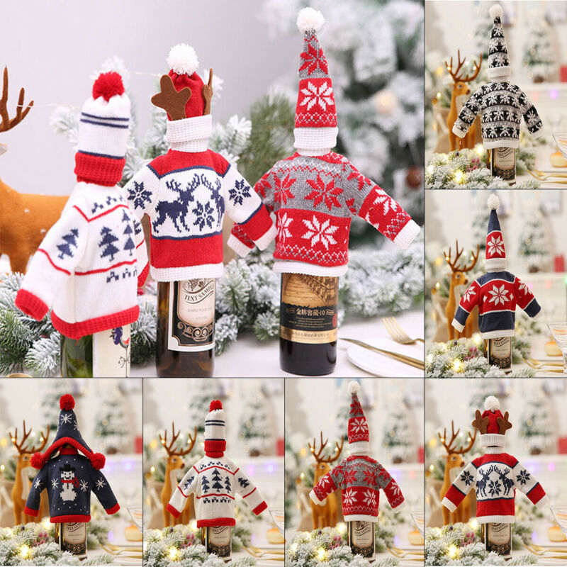 Christmas Decorations Wine Bottle Cover Sweater Cover Bag Santa Claus Knitting Hats For New Year Xmas Home Dinner Party Decor