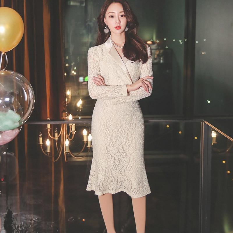 Dress 2020 Spring WOMEN'S Dress New Style Korean-style Elegant Suit Collar Mid-length Waist Hugging Slimming Lace Fishtail Skirt