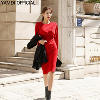 YAMDI Autumn Winter Dress Midi Office Lady Sexy Chic Runway Solid Green Red Black Slong Sleeve Bodycon Slim Wrap 2019 Pencil