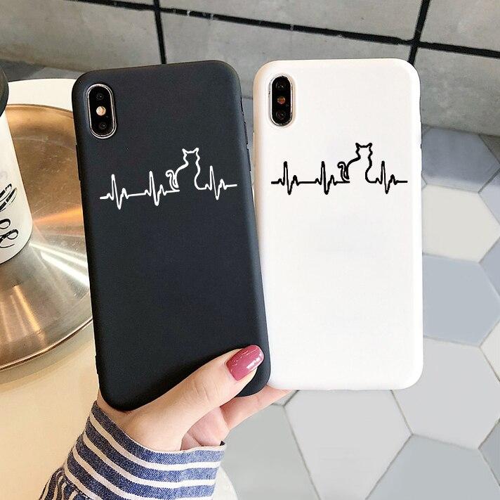 Cute Heartbeat Cat TPU Case For Samsung Galaxy A71 A51 A50 A70 A10 A10e A30 A40 A20e S8 S10 S10e S9 S20 Ultra Plus Couple Cover