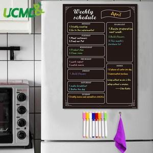 Magnetic BlackBoard Calendar for Kitchen Fridge Chalkboard Sticker Weekly Schedule Task Menu Planner To do list with 8 Markers