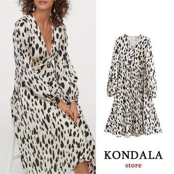Casual dress women cow animal print long sleeve office lady high waist vestidos pleated mujer ropa ZA 2020