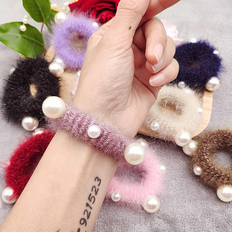 EUHRA 5 Colors Big Pearls Pom Pom Hairball Elastic Hair Bands For Women Girls Hair Band Kid Children Rubber Band