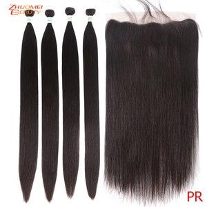 Прямые волосы 3 пучка с фронтальным P человеческие волосы с фронтальным Remy бразильские волосы пучки с фронтальным кружевом 8-28