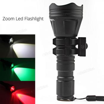 900LM B158 Convex Lens Zoom Flashlight XM-L2 U4 LED Torch  Light with 3 Bulbs Red/ Green/ White