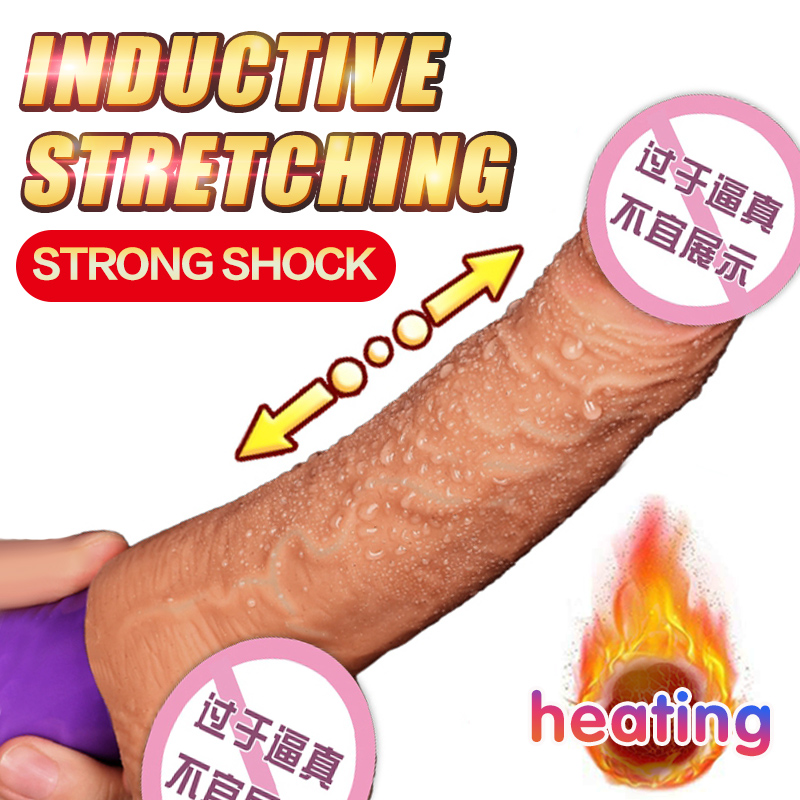 Soft Lilicone Dildo Vibrator Flexible Realistic Penis Sex Toys Heating Automatic Telescopic Dildo Real Dick Sex Product For Wome