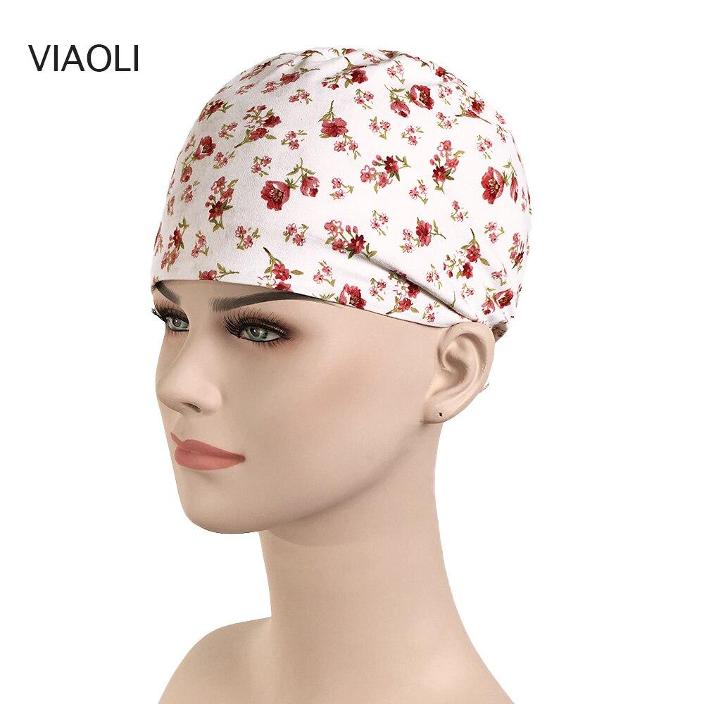 Flower Print Medical Hat Surgical Scrub Cap Women Cotton Colorful Nursing Caps Dentist Clinic SPA Work Hats Tieback Hats Unisex