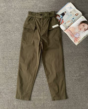 With belt elastic high waist wide leg slimming tooling women's casual pants solid color army green cotton trousers(China)