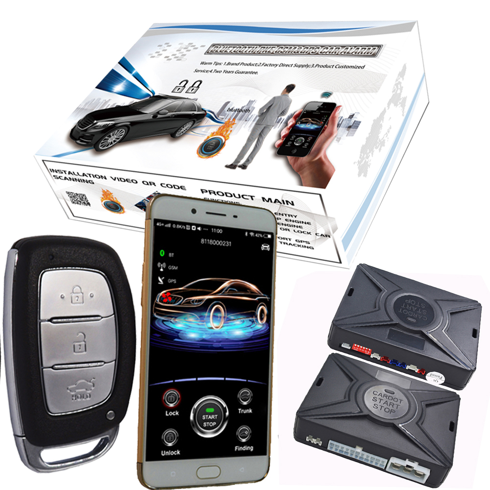 Cardot 2g Gsm Car Alarm Security System Mobile Phone Remote Start Stop Car Supporting ISO Or Andriod