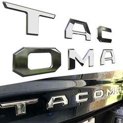 NEW-3D podniesiona klapa tylna wstaw litery godło dla Toyota Tacoma 2016-2019 godło wkładki (chrom)