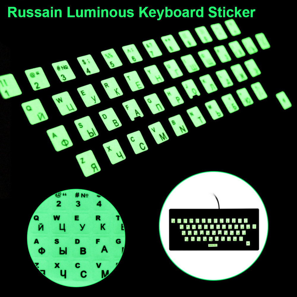 Luminous Keyboard Stickers Letter Protective Film Alphabet Layout For Laptop PC Spanish/English/Russian/Arabic/French Language-0