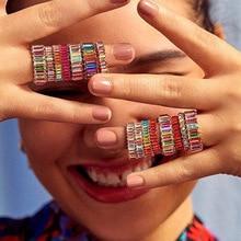 DIEZI Multicolor Vintage bohemio cuadrado zirconio anillo Simple hecho a mano de compromiso Arco Iris piedra acrílico anillo para joyería de mujer