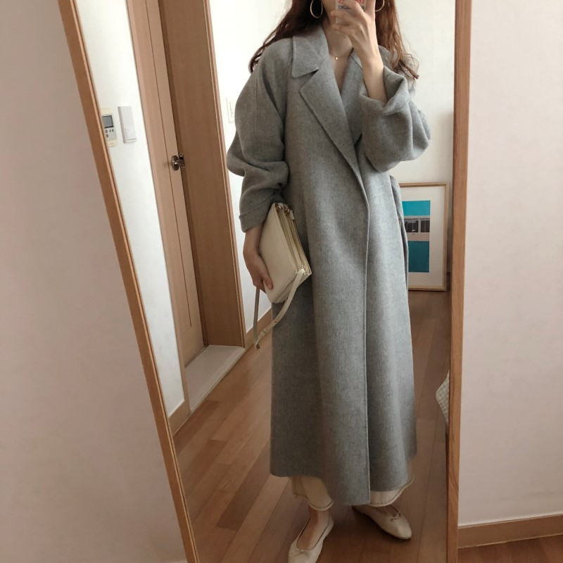 Hbc295ed63b8546b1a23000f616d667f2X Winter Fashion Coats Women Wool-blend Coat Lazy Oaf Long Chunky Warm Coat Western Style Fitted Waist Lace-up  Loose Coat