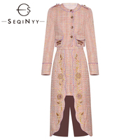 SEQINYY Pink Set 2020 Autumn Winter New Fashion Design Women Long Sleeve Short Top + Long Skirt Flowers Embroidery Tweed Suit