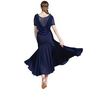 Image 2 - מוצק צבע בחזרה סלסולים שמלת ריקודים סלוניים מודרני ריקוד פלמנקו ואלס שמלת מקובל ללבוש תחרות