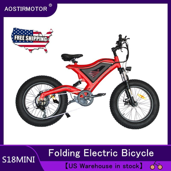 AOSTIRMOTOR Electric Bike Fat Tire Mini Ebike Beach Cruiser Bicycle 500W 48V Battery US Shipping mountain bike fat 48v 500w samsung lithium battery electric bicycle 10 an large capacity 27 speed 26 x 4 0 electric snow bike