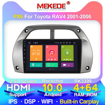 PX6 For Toyota RAV4 Car Radio Multimedia Video Player Navigation GPS Android 10 2DIN Years 2001 2002 2003 2004 2005 2006 image