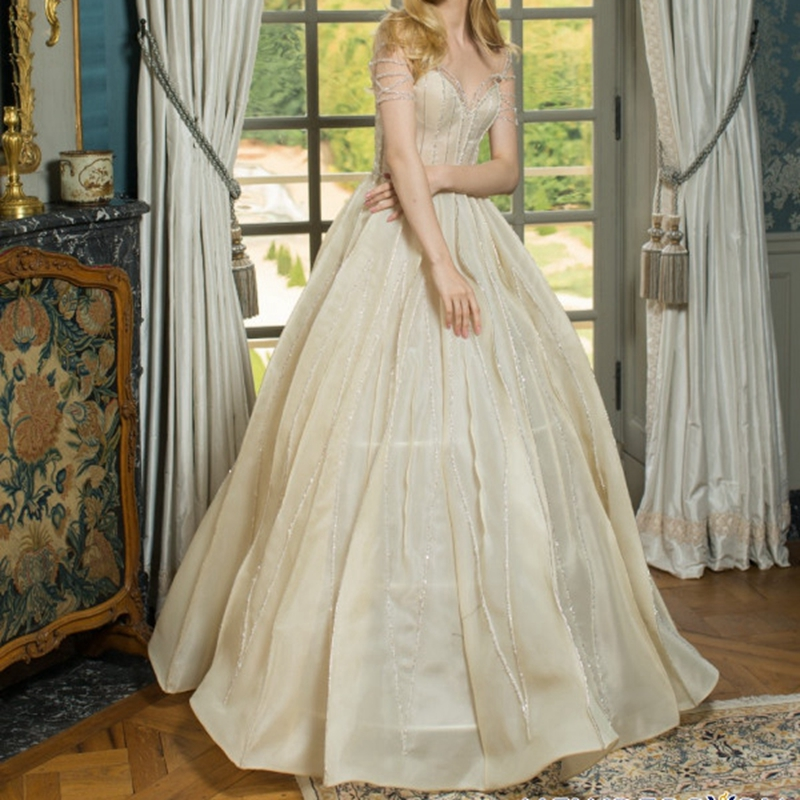Beige Sweetheart Organza Evening Gowns 2020 Floor-length Formal  Dresses Shoulder Tulle Illusion Evening Dress