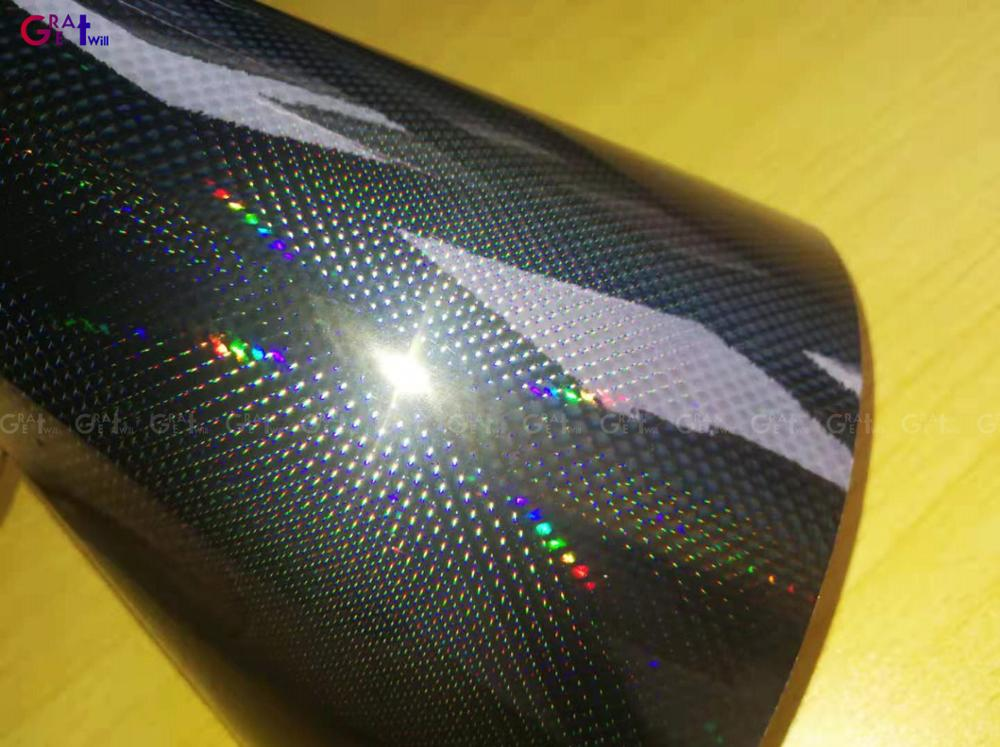 Neon Rainbow Black Holographic Chrome Vinyl Wrap Film With Air Bubble Free Laser Chrome Car Wrap Sticker 1.52*18M/Roll