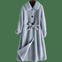 Abrigo de piel Real 100% chaqueta de lana otoño invierno abrigo mujer ropa 2020 coreano Vintage oveja Shearling Suede forro mujeres tapas 3041