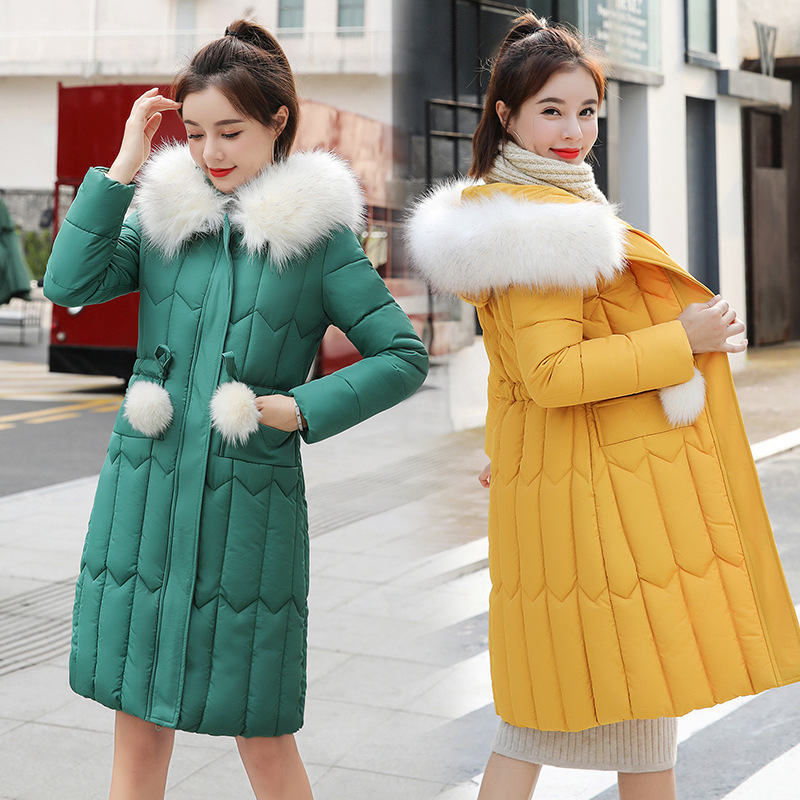 Fur Hooded Jackets Parka Winter Hair-Collar Thickening Warm-Coats Down-Garments Large-Size