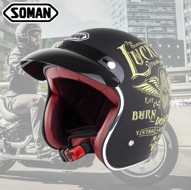 SOMAN шлем с открытым лицом Ретро мотоциклетный шлем Chopper винтажный шлем мото шлем мотоциклетный скутер шлем точка SM512