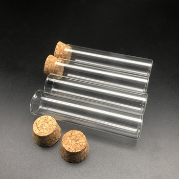 12pcs/lot 30x100mm Glass Flat bottom test tube with cork stopper,Thickened laboratory glass reaction vessel
