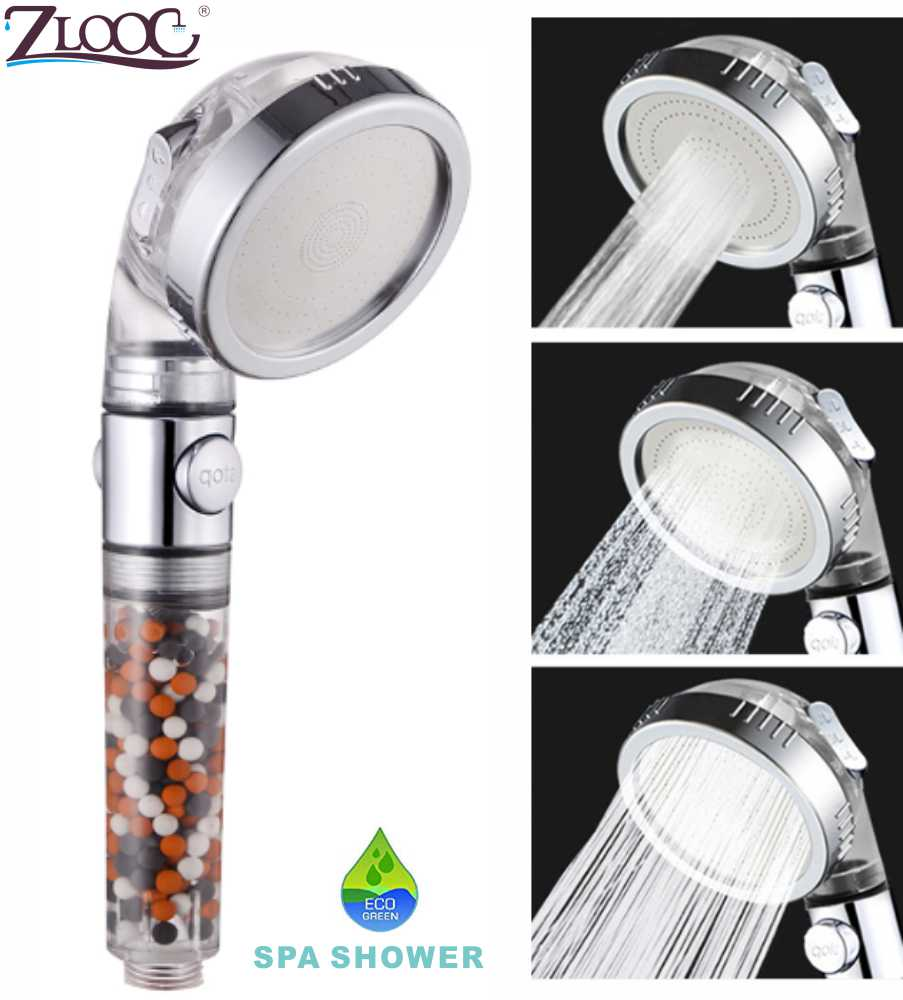 Zloog New Replacement Filter Balls Saving Water SPA Shower Head With Stop Button 3 Modes Adjustable High Pressure Shower Head