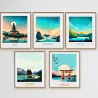 Pintura de paisaje de viaje moderna de estilo nórdico, pintura en lienzo Banff de Bali, Japón, Póster Artístico impreso, imagen para pared, decoración para el hogar y la sala de estar