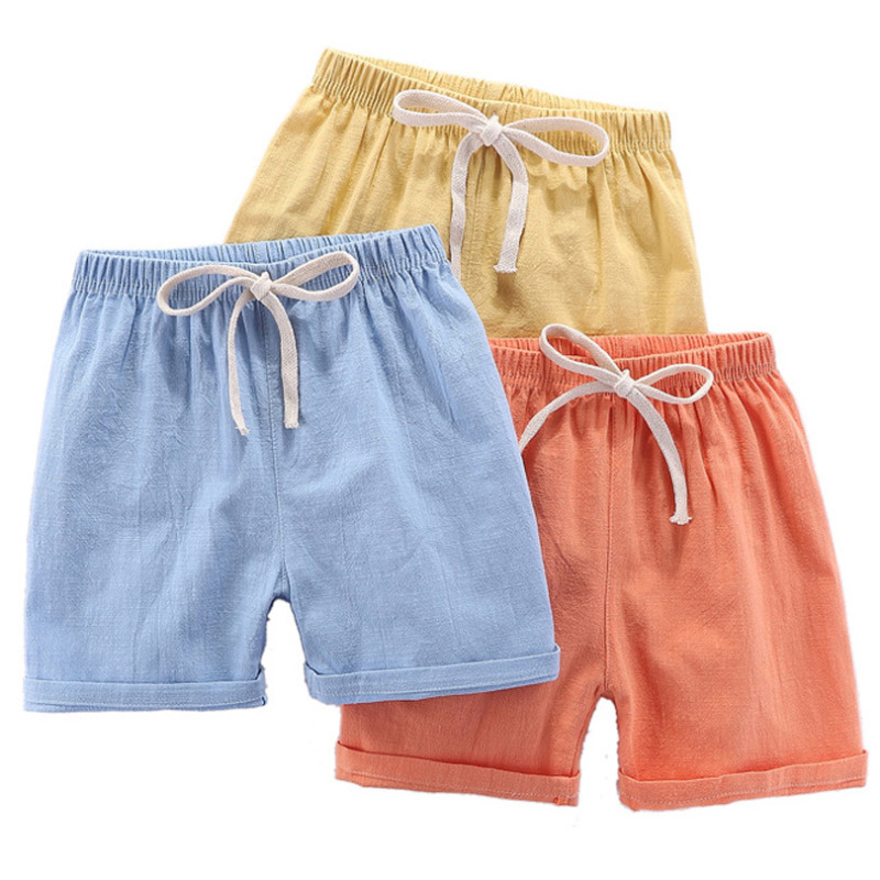 2020 New Candy Color Boy Sports Pant Linen Summer Kid Girls Short Fashion Children Pants For Baby Boys Shorts Beach Wear 90~140T