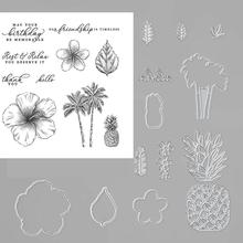 Metal Cutting Dies and Rubber Stamps Scrapbooking Tropical beach ananas Craft Die Cut Stencil Card Make Album Sheet Decoration jc rubber stamps and metal cutting dies scrapbooking craft house pet dog s home stencil for card making album sheet decoration