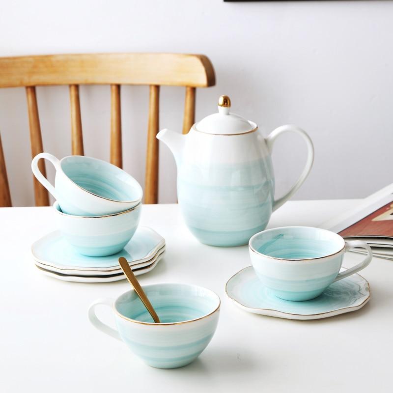 Pink Marble Ceramic Milk Coffee Mug  Tea Cup With Octagonal Shape Saucer Gold Plated Shelf Tea Pot Drinkware Set Friend Gifts