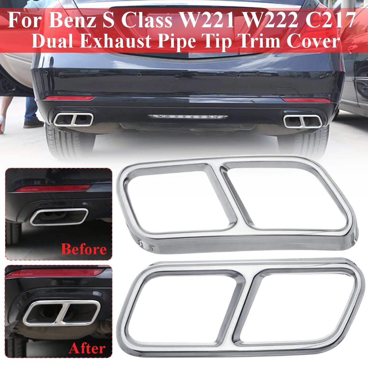 Exhaust End Pipe For Mercedes Benz S Class W221 W222 C217 Muffler Tip Trim Cover