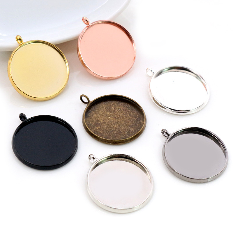 10pcs 20mm Inner Size 7 Colors Plated Classic Style Brass Metal Cabochon Base Setting Charms Pendant Tray