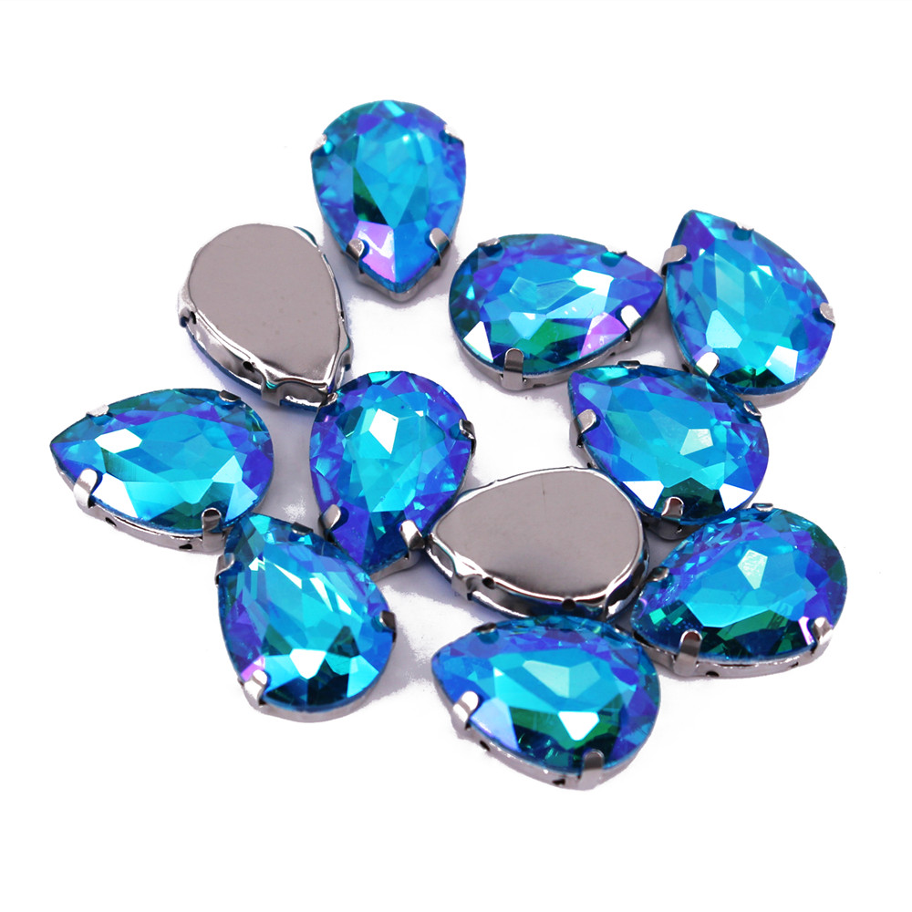 13x18mm 10pcs High Quality Colorful Water Drop Shaped Transparent Glass Rhinestones With Claw Apply To  Wedding DreSS Decoration