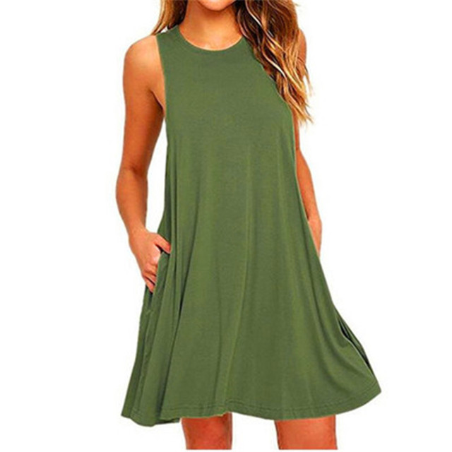 Summer Cotton Dress Women Sleeveless Beach Black Dress Casual  Pocket Loose Dress Female Plus Size Dress Fashion Clothing 1
