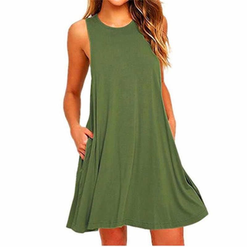 여름 코튼 드레스 여성 민소매 비치 블랙 드레스 캐주얼 포켓 루즈 드레스 여성 플러스 사이즈 드레스 패션 의류