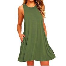 Sommer Baumwolle Kleid Frauen Sleeveless Strand Schwarz Kleid Casual Tasche Lose Kleid Weibliche Plus Größe Kleid Mode Kleidung