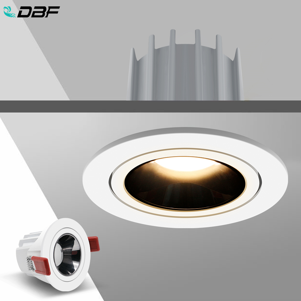 [DBF]2020 New High CRI≥90 Anti-glare LED COB Recessed Downlight 7W 12W Round LED Ceiling Spot Light Kitchen Living Room Indoor