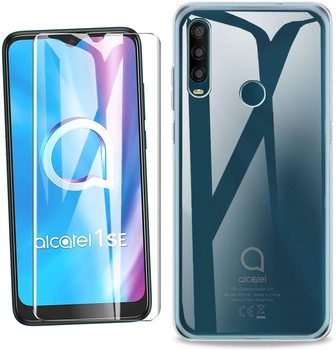 for ALCATEL 1SE 2020 Clear Case Cover + Screen Protector Tempered Glass Protective Film for ALCATEL 1SE 2020