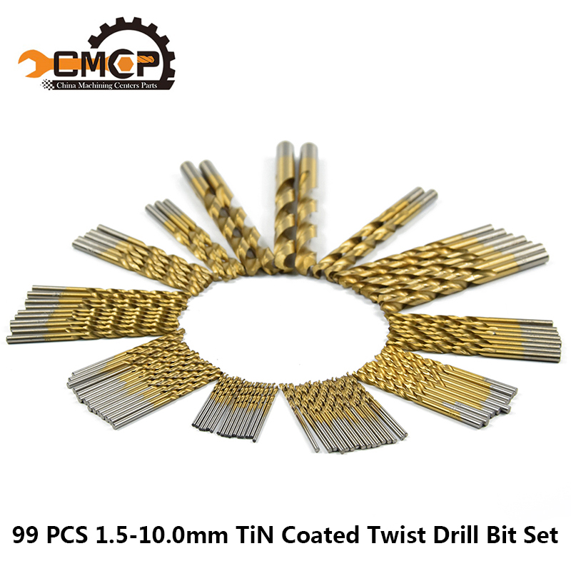 99pcs 1.5-10mm HSS Twist Drill Bits Set Titanium Coated Mini Drill Bit For Wood/Metal Power Drilling Tools