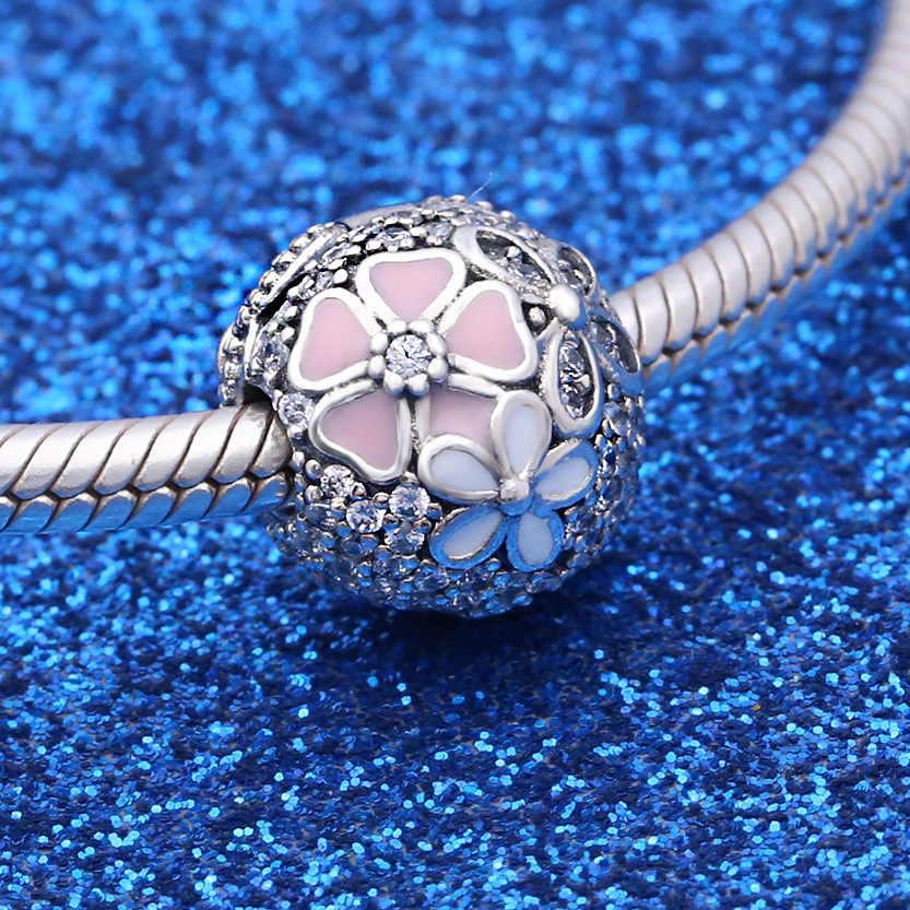 Original 925 Sterling Silber Perle Charme Poetische Blüten Fest Clip Stopper Perlen Fit Pandora Armband & Halskette Diy Schmuck