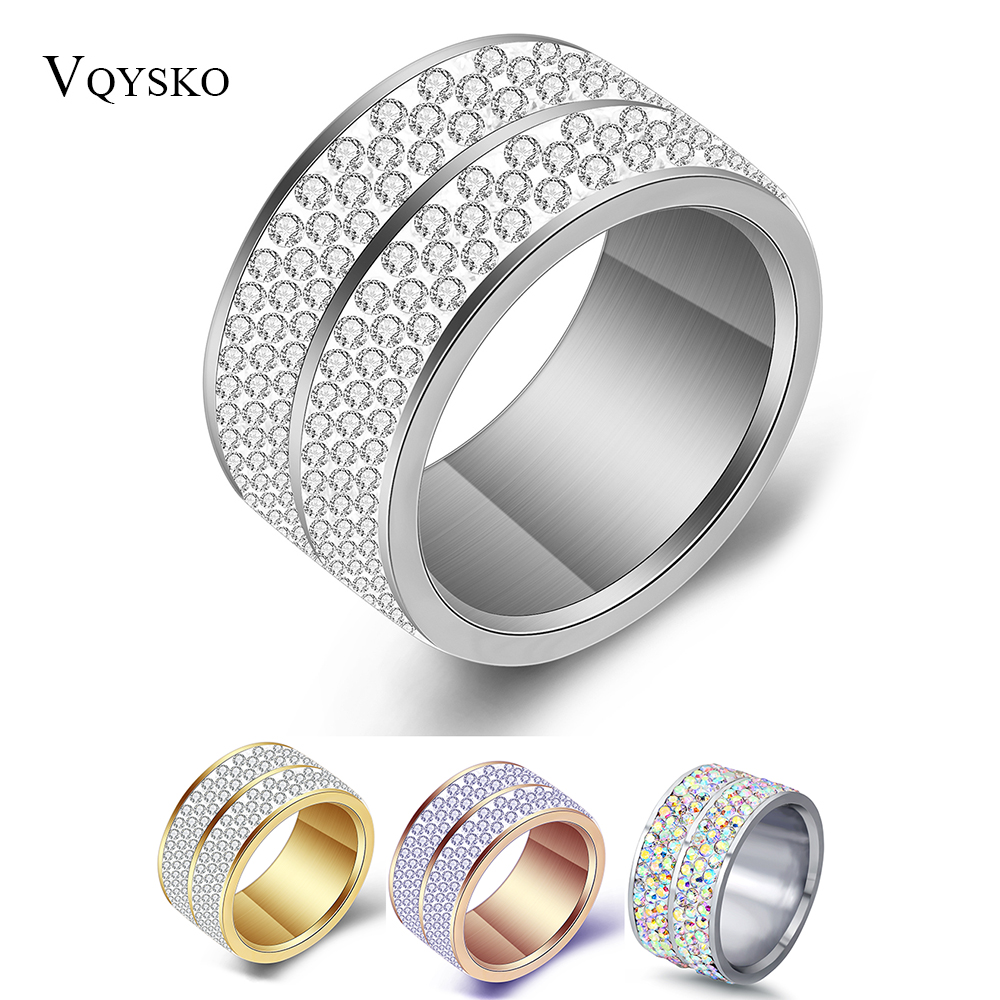 Wholesale  6 Row Crystal Jewelry Wedding Ring For Women High Quality Classic Stainless Steel Accessories Rings Party Jewelry 1