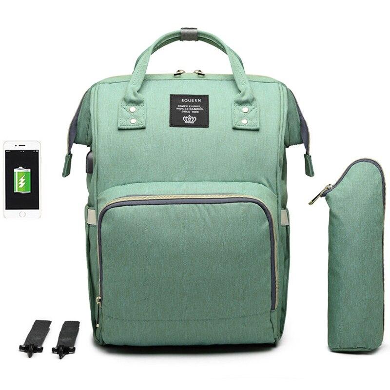 Image 4 - Large Capacity Diaper Bag Backpack Waterproof Maternity Bag Baby Diaper Bags With USB Interface Mummy Travel Bag For StrollerDiaper Bags   -