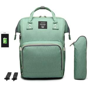 Image 4 - 大容量おむつバッグバックパック防水産科バッグベビーおむつバッグ USB インタフェースミイラのためのベビーカー